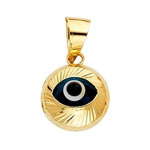 14K Yellow Gold Evil Eye Fluted Pendant